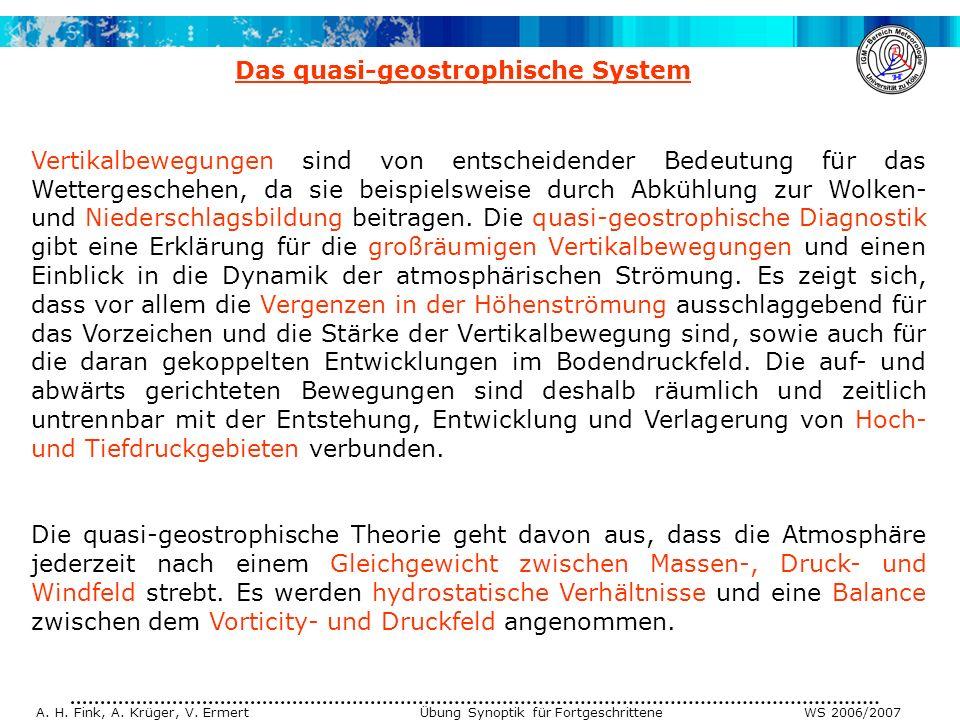 A. H. Fink, A. Krüger, V. Ermert Übung Synoptik für Fortgeschrittene WS 2006/2007 Vertikalbewegungen sind von entscheidender Bedeutung für das Wetterg
