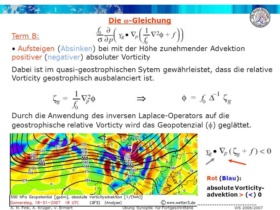 A. H. Fink, A. Krüger, V. Ermert Übung Synoptik für Fortgeschrittene WS 2006/2007 Term B: Aufsteigen (Absinken) bei mit der Höhe zunehmender Advektion