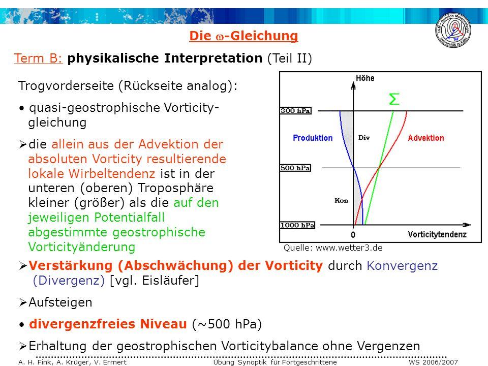 A. H. Fink, A. Krüger, V. Ermert Übung Synoptik für Fortgeschrittene WS 2006/2007 Die -Gleichung Term B: physikalische Interpretation (Teil II) Trogvo
