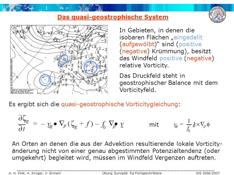 A. H. Fink, A. Krüger, V. Ermert Übung Synoptik für Fortgeschrittene WS 2006/2007 Das quasi-geostrophische System Es ergibt sich die quasi-geostrophis