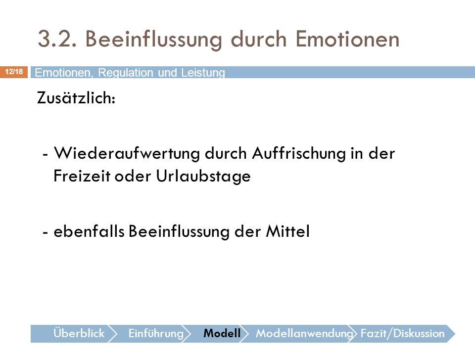 12/18 Emotionen, Regulation und Leistung Zusätzlich: - Wiederaufwertung durch Auffrischung in der Freizeit oder Urlaubstage - ebenfalls Beeinflussung