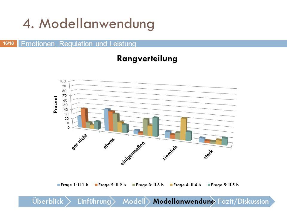 16/18 Emotionen, Regulation und Leistung ÜberblickEinführungModellModellanwendungFazit/Diskussion 4. Modellanwendung