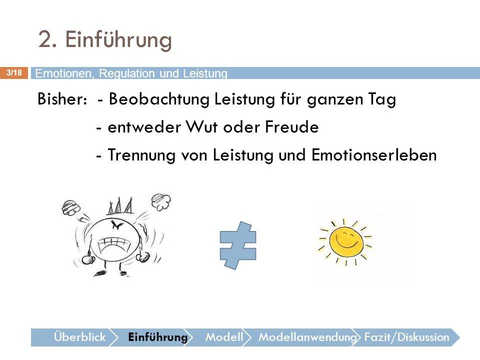 2. Einführung 3/18 Bisher: - Beobachtung Leistung für ganzen Tag - entweder Wut oder Freude - Trennung von Leistung und Emotionserleben Emotionen, Reg