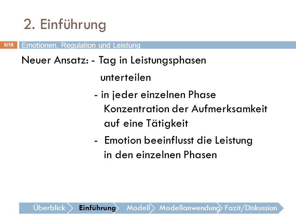16/18 Emotionen, Regulation und Leistung ÜberblickEinführungModellModellanwendungFazit/Diskussion 4.