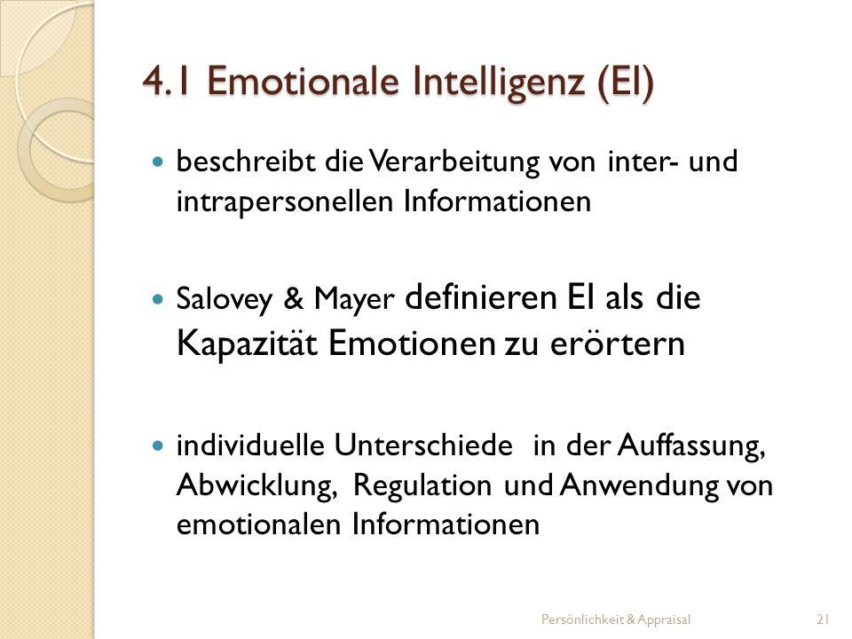 beschreibt die Verarbeitung von inter- und intrapersonellen Informationen Salovey & Mayer definieren EI als die Kapazität Emotionen zu erörtern indivi
