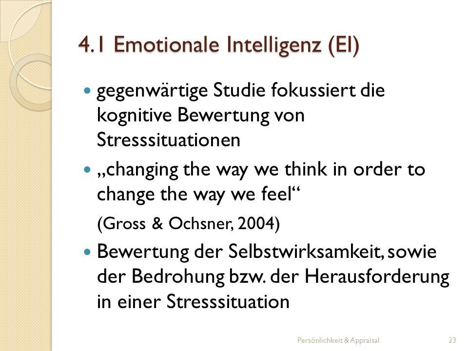 gegenwärtige Studie fokussiert die kognitive Bewertung von Stresssituationen changing the way we think in order to change the way we feel (Gross & Och
