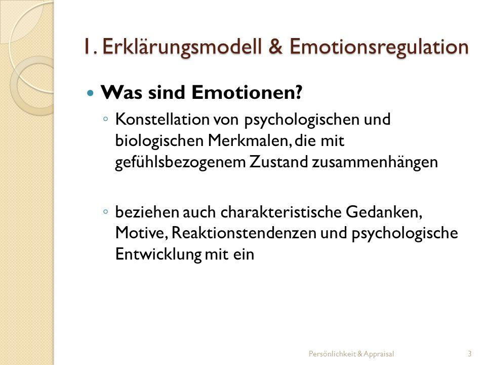1. Erklärungsmodell & Emotionsregulation Was sind Emotionen? Konstellation von psychologischen und biologischen Merkmalen, die mit gefühlsbezogenem Zu
