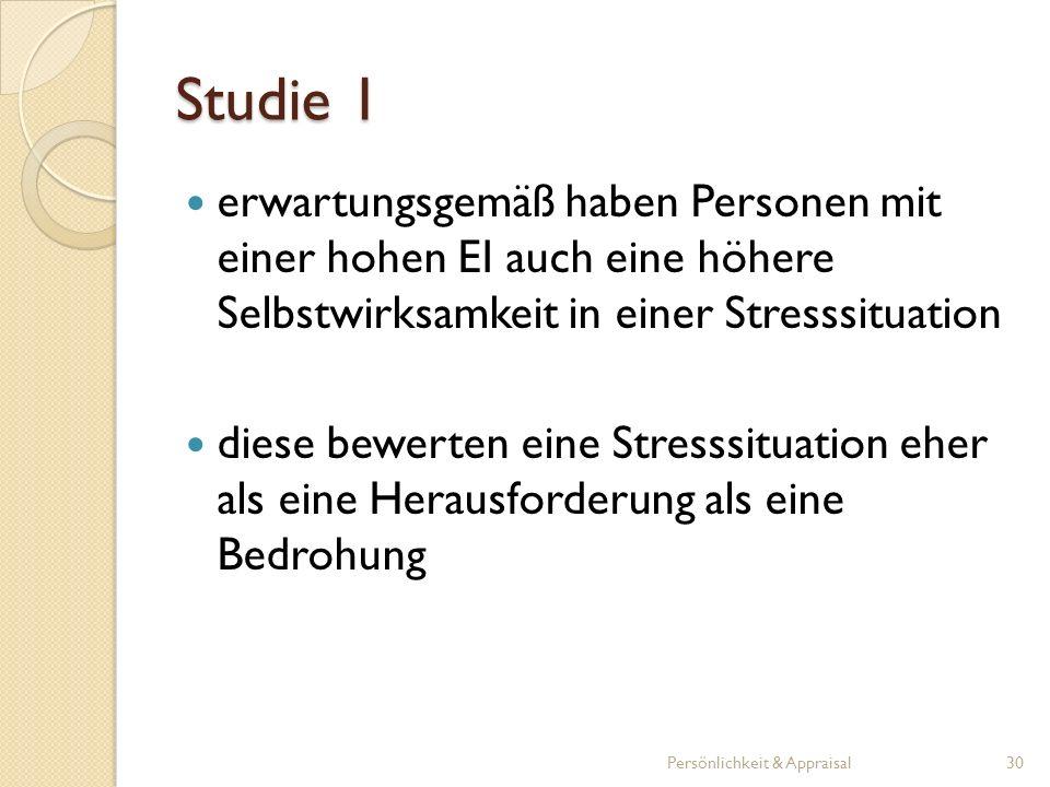 Studie 1 erwartungsgemäß haben Personen mit einer hohen EI auch eine höhere Selbstwirksamkeit in einer Stresssituation diese bewerten eine Stresssitua