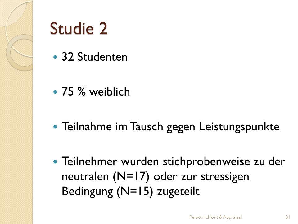 Studie 2 32 Studenten 75 % weiblich Teilnahme im Tausch gegen Leistungspunkte Teilnehmer wurden stichprobenweise zu der neutralen (N=17) oder zur stre