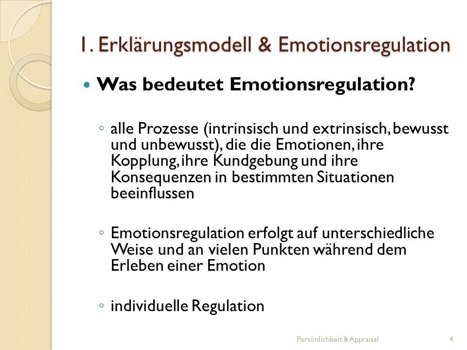 Das Erklärungsmodell (explanatory style) bezieht sich darauf, wie Individuen gewöhnlich bestimmte Situationen erklären Gedanken, Gefühlen, Motive und Handeln der Menschen werden berücksichtigt das Erklärungsmodell beeinflusst die Emotionsregulation Persönlichkeit & Appraisal5 1.