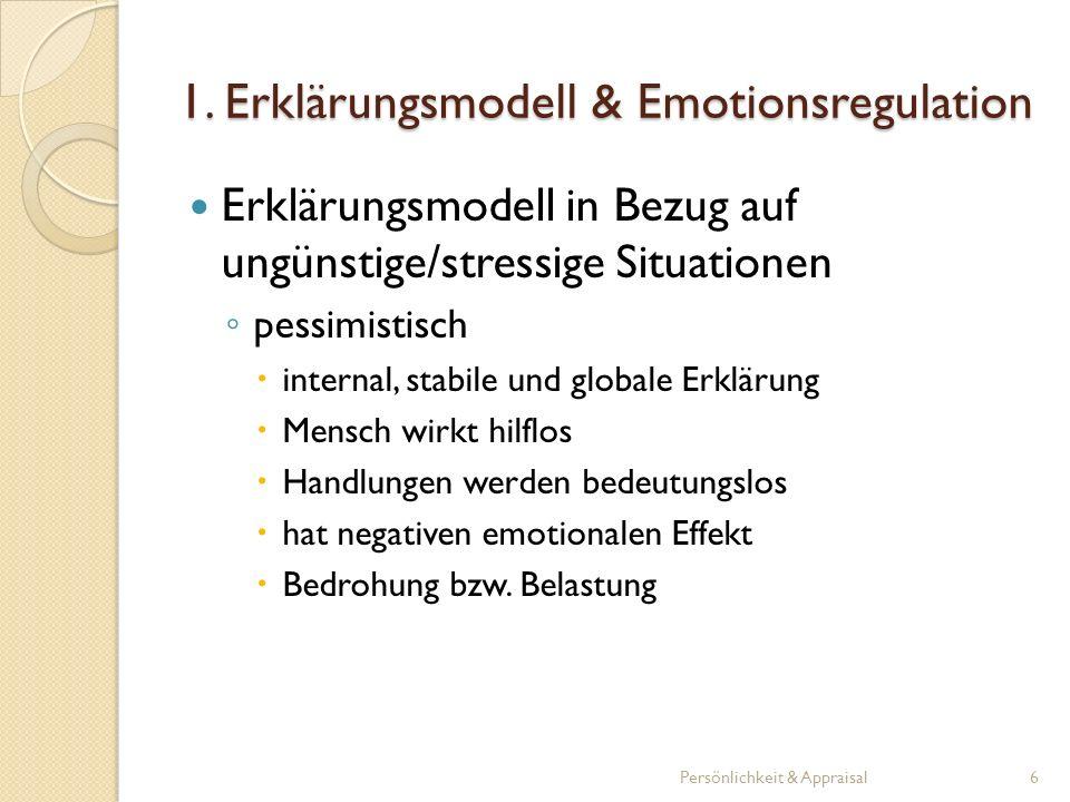 Erklärungsmodell in Bezug auf ungünstige/stressige Situationen optimistisch external, instabile und spezifische Erklärung Mensch wird bestärkt an Erfolg zu glauben hat positiven emotionalen Effekt Herausforderung Persönlichkeit & Appraisal7 1.