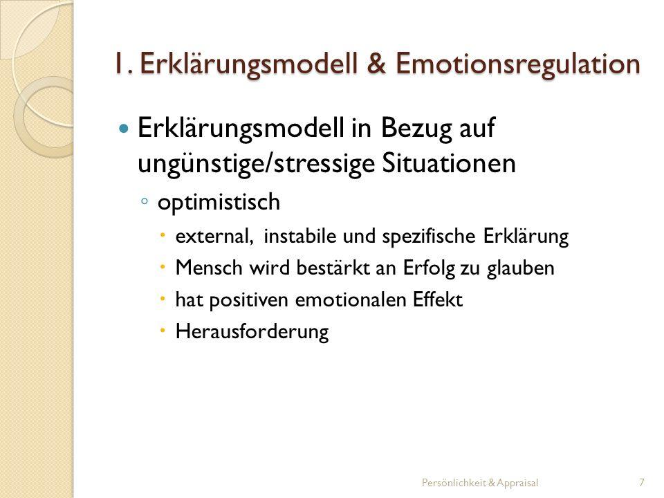 1.1 Erlernte Hilflosigkeit theoretische Rahmen der Emotionsregulation Prozess, wie Menschen emotional auf unkontrollierbare Ablehnungssituationen reagieren Personen werden passiv und teilnahmslos in der Annahme, dass keine Kontingenz zwischen Handlung und Ergebnis besteht produziert Hilflosigkeit Persönlichkeit & Appraisal8