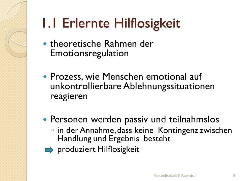 1.1 Erlernte Hilflosigkeit theoretische Rahmen der Emotionsregulation Prozess, wie Menschen emotional auf unkontrollierbare Ablehnungssituationen reag