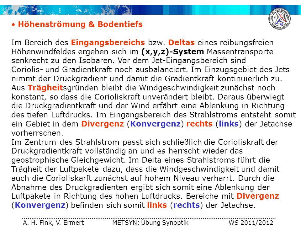 A. H. Fink, V. Ermert METSYN: Übung Synoptik WS 2011/2012 Im Bereich des Eingangsbereichs bzw. Deltas eines reibungsfreien Höhenwindfeldes ergeben sic