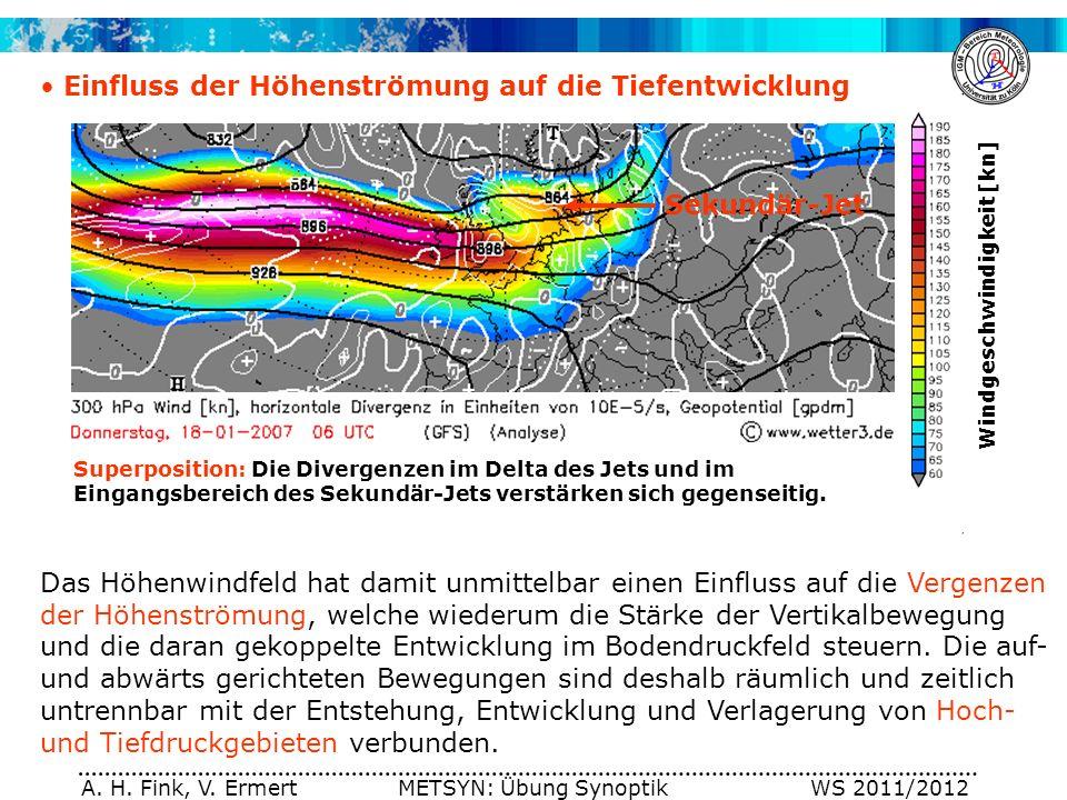 A. H. Fink, V. Ermert METSYN: Übung Synoptik WS 2011/2012 Einfluss der Höhenströmung auf die Tiefentwicklung Das Höhenwindfeld hat damit unmittelbar e