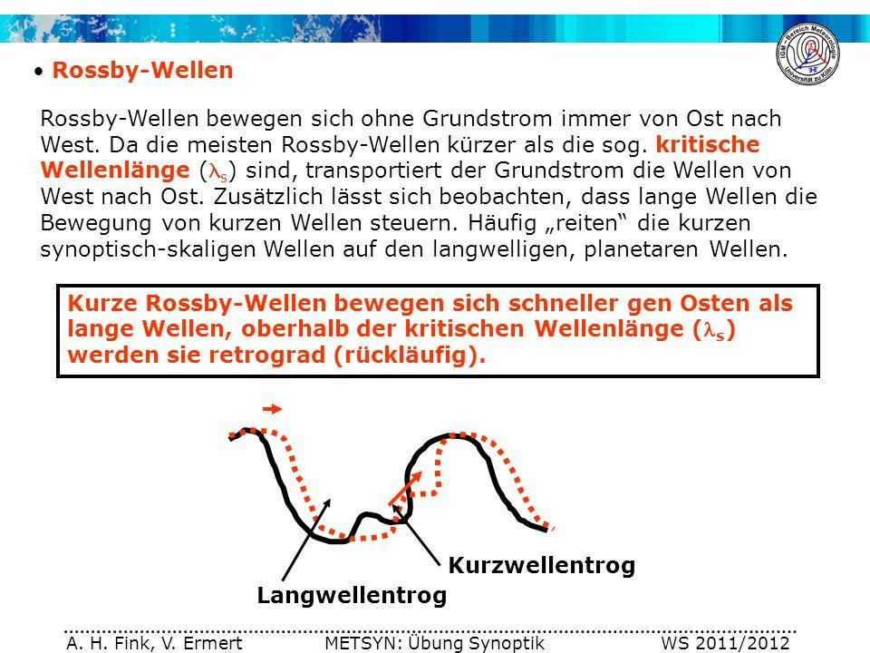 A. H. Fink, V. Ermert METSYN: Übung Synoptik WS 2011/2012 Rossby-Wellen Rossby-Wellen bewegen sich ohne Grundstrom immer von Ost nach West. Da die mei