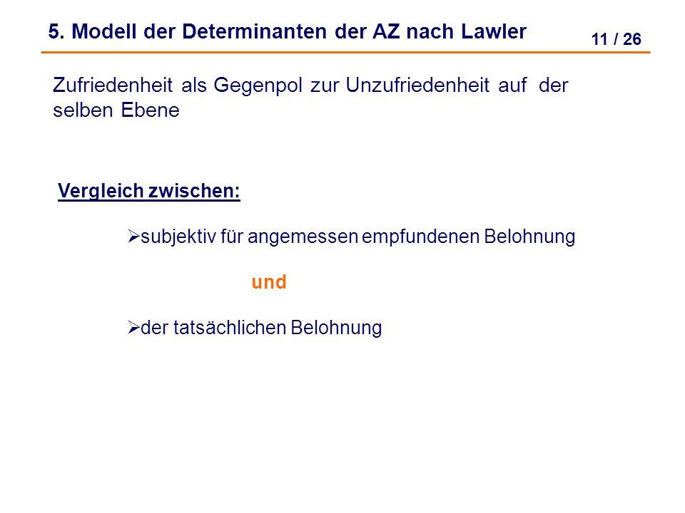 10 / 26 4. Zwei - Faktoren - Theorie nach Herzberg Kritik: Hygienefaktoren doppeldeutig (Bsp. Gehalt) Aussage trifft nur zu wenn alle Faktoren zusamme