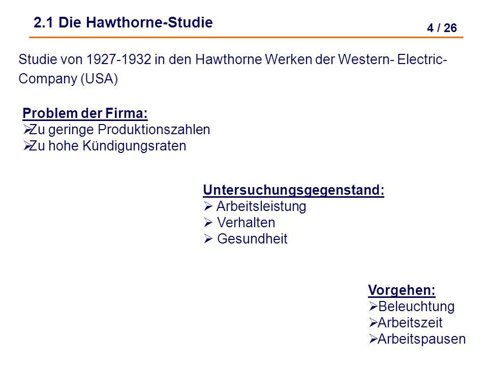 4 / 26 Studie von 1927-1932 in den Hawthorne Werken der Western- Electric- Company (USA) 2.1 Die Hawthorne-Studie Untersuchungsgegenstand: Arbeitsleistung Verhalten Gesundheit Problem der Firma: Zu geringe Produktionszahlen Zu hohe Kündigungsraten Vorgehen: Beleuchtung Arbeitszeit Arbeitspausen