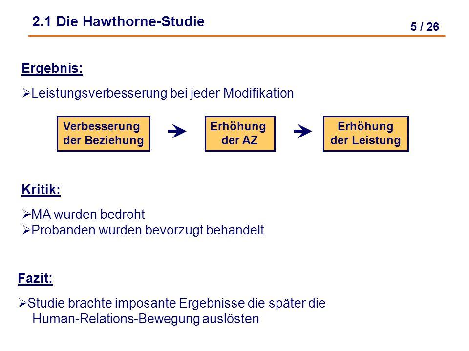 4 / 26 Studie von 1927-1932 in den Hawthorne Werken der Western- Electric- Company (USA) 2.1 Die Hawthorne-Studie Untersuchungsgegenstand: Arbeitsleis