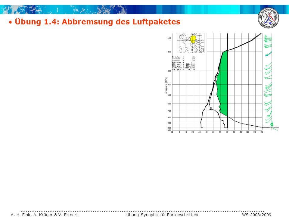 A. H. Fink, A. Krüger & V. Ermert Übung Synoptik für Fortgeschrittene WS 2008/2009 Übung 1.4: Abbremsung des Luftpaketes