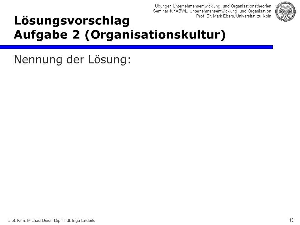 13 Übungen Unternehmensentwicklung und Organisationstheorien Seminar für ABWL, Unternehmensentwicklung und Organisation Prof.