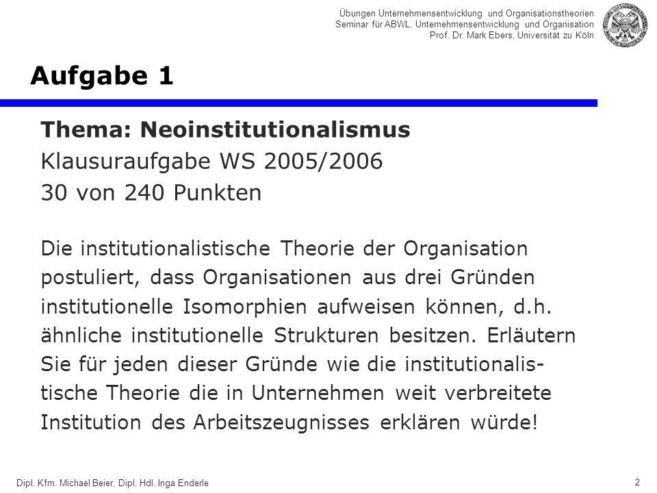 2 Übungen Unternehmensentwicklung und Organisationstheorien Seminar für ABWL, Unternehmensentwicklung und Organisation Prof.