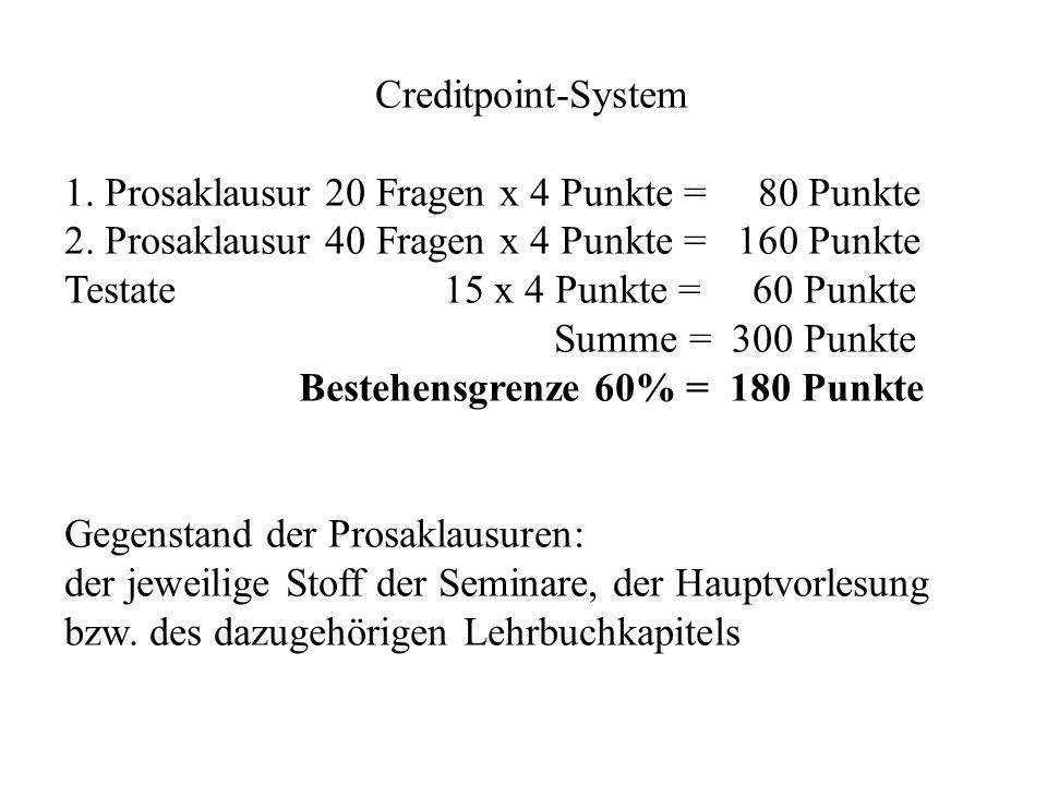 Creditpoint-System 1. Prosaklausur 20 Fragen x 4 Punkte = 80 Punkte 2. Prosaklausur 40 Fragen x 4 Punkte = 160 Punkte Testate 15 x 4 Punkte = 60 Punkt