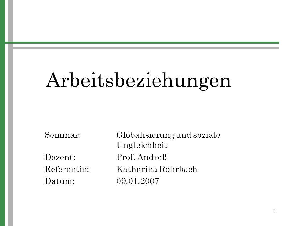 1 Arbeitsbeziehungen Seminar:Globalisierung und soziale Ungleichheit Dozent: Prof. Andreß Referentin:Katharina Rohrbach Datum:09.01.2007