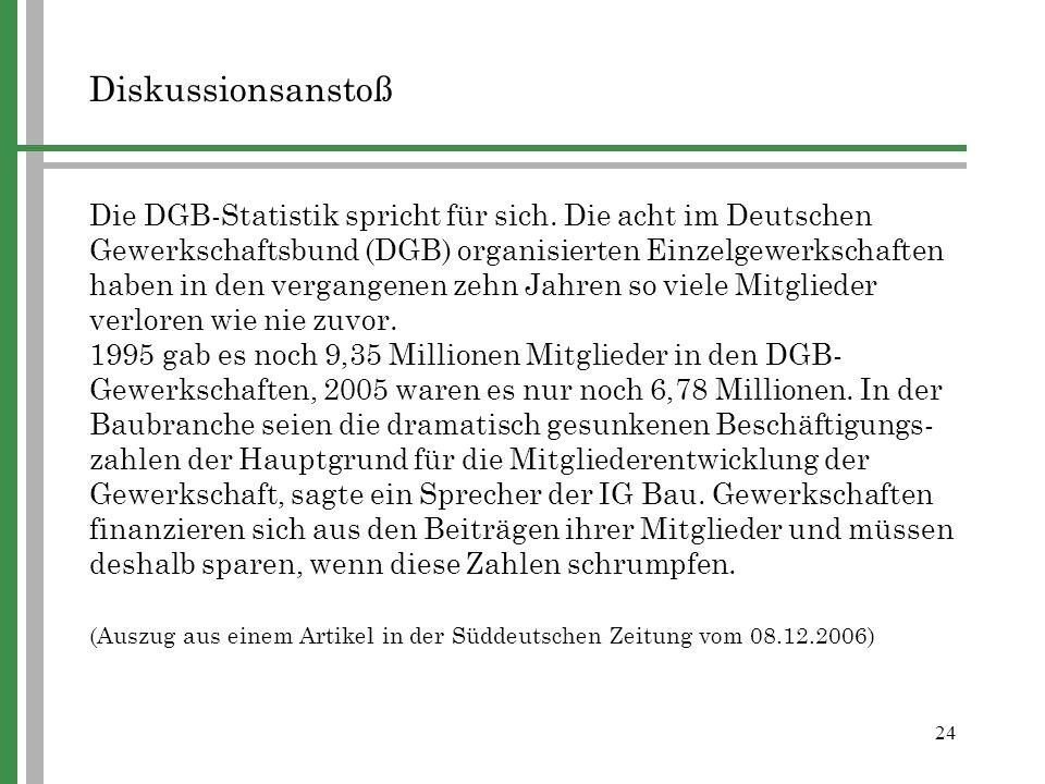 24 Diskussionsanstoß Die DGB-Statistik spricht für sich. Die acht im Deutschen Gewerkschaftsbund (DGB) organisierten Einzelgewerkschaften haben in den