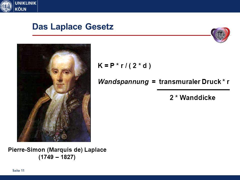 Seite 11 Das Laplace Gesetz Pierre-Simon (Marquis de) Laplace (1749 – 1827) K = P * r / ( 2 * d ) Wandspannung = transmuraler Druck * r 2 * Wanddicke