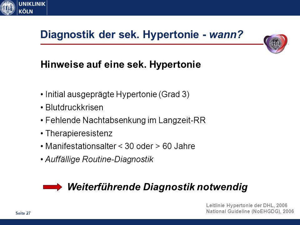 Seite 27 Diagnostik der sek. Hypertonie - wann? Hinweise auf eine sek. Hypertonie Initial ausgeprägte Hypertonie (Grad 3) Blutdruckkrisen Fehlende Nac