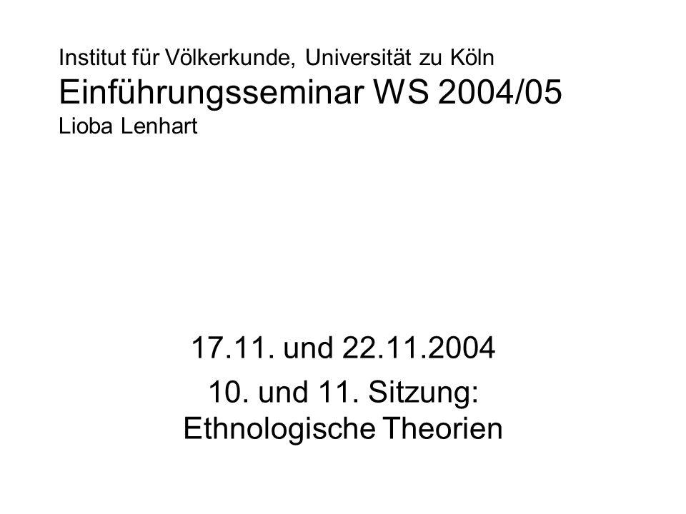 Institut für Völkerkunde, Universität zu Köln Einführungsseminar WS 2004/05 Lioba Lenhart 17.11. und 22.11.2004 10. und 11. Sitzung: Ethnologische The
