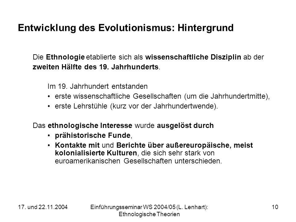 17. und 22.11.2004Einführungsseminar WS 2004/05 (L. Lenhart): Ethnologische Theorien 10 Entwicklung des Evolutionismus: Hintergrund Die Ethnologie eta
