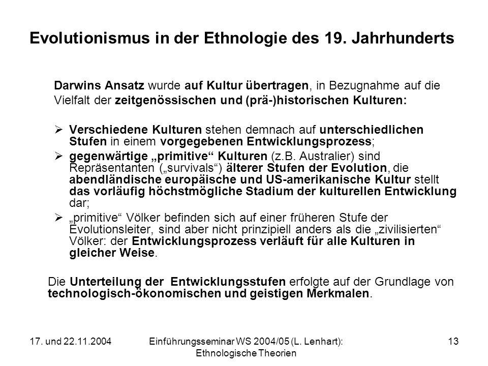 17. und 22.11.2004Einführungsseminar WS 2004/05 (L. Lenhart): Ethnologische Theorien 13 Evolutionismus in der Ethnologie des 19. Jahrhunderts Darwins