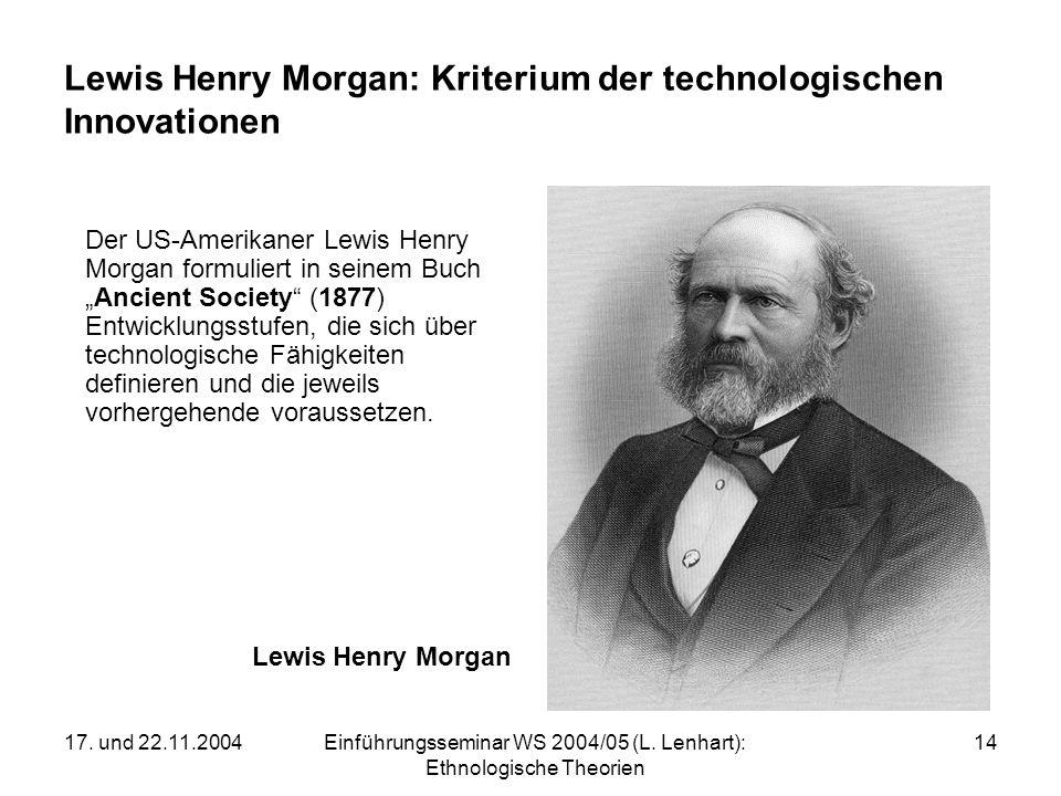 17. und 22.11.2004Einführungsseminar WS 2004/05 (L. Lenhart): Ethnologische Theorien 14 Lewis Henry Morgan: Kriterium der technologischen Innovationen