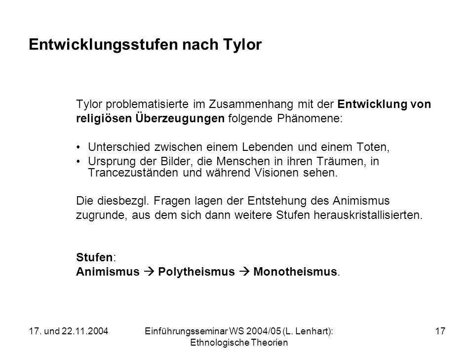 17. und 22.11.2004Einführungsseminar WS 2004/05 (L. Lenhart): Ethnologische Theorien 17 Entwicklungsstufen nach Tylor Tylor problematisierte im Zusamm