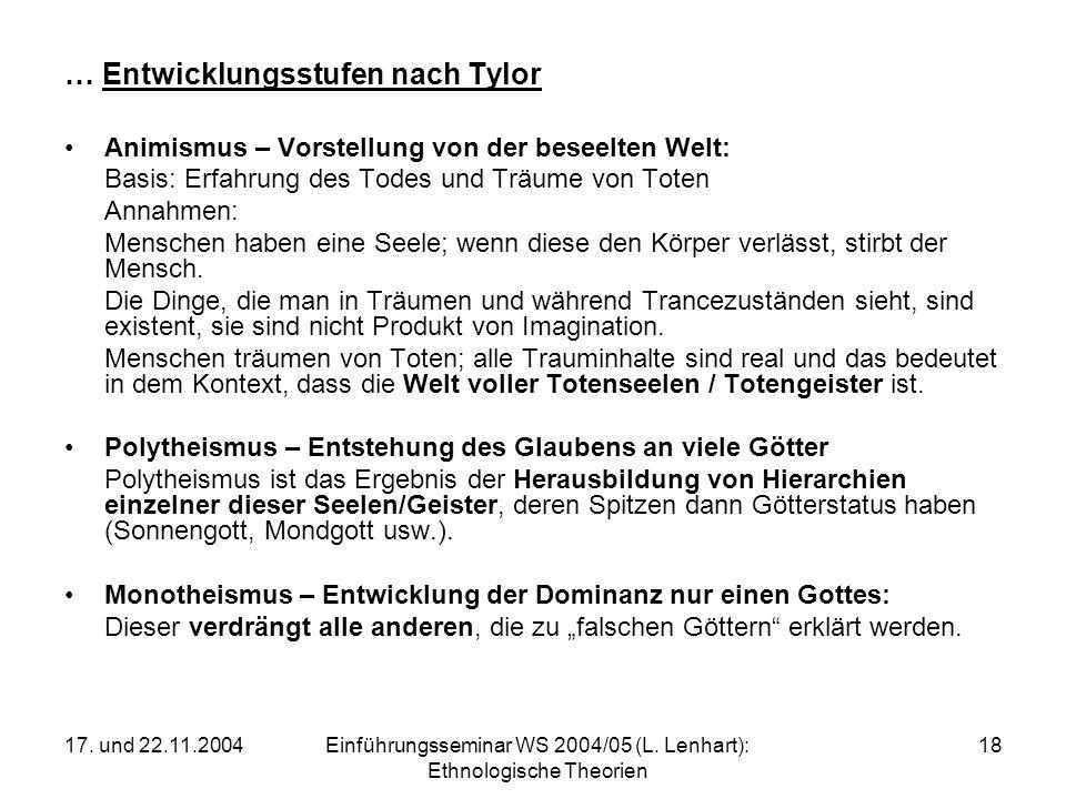 17. und 22.11.2004Einführungsseminar WS 2004/05 (L. Lenhart): Ethnologische Theorien 18 … Entwicklungsstufen nach Tylor Animismus – Vorstellung von de