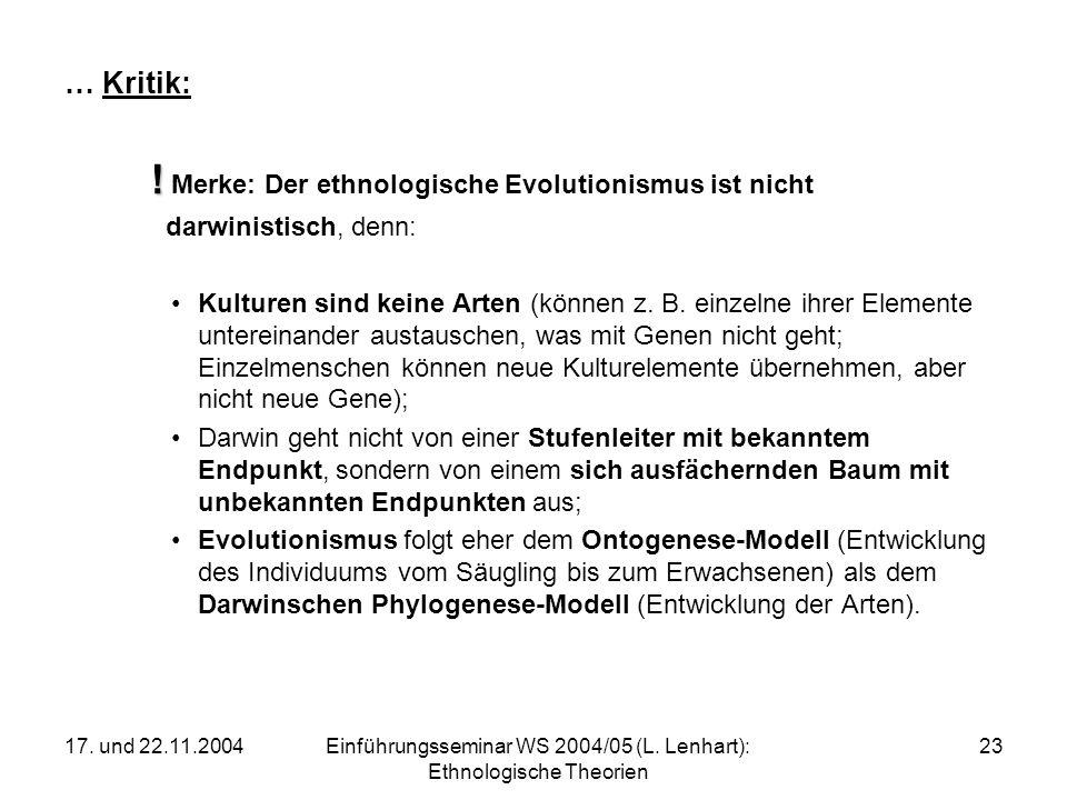 17. und 22.11.2004Einführungsseminar WS 2004/05 (L. Lenhart): Ethnologische Theorien 23 … Kritik: ! ! Merke: Der ethnologische Evolutionismus ist nich