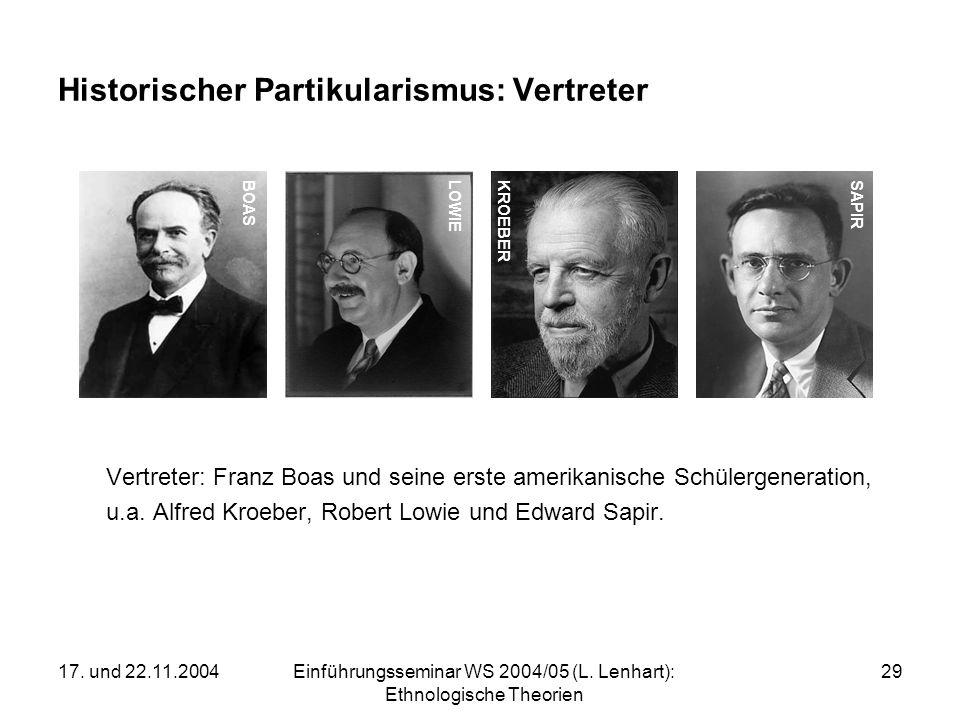 17. und 22.11.2004Einführungsseminar WS 2004/05 (L. Lenhart): Ethnologische Theorien 29 Historischer Partikularismus: Vertreter Vertreter: Franz Boas