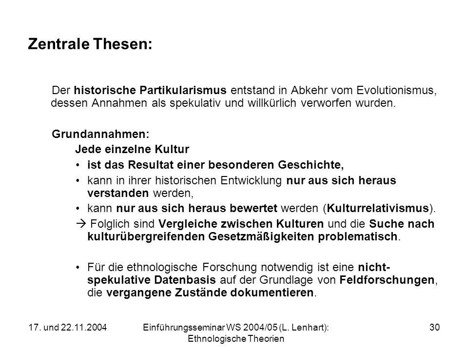 17. und 22.11.2004Einführungsseminar WS 2004/05 (L. Lenhart): Ethnologische Theorien 30 Zentrale Thesen: Der historische Partikularismus entstand in A