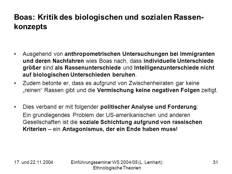 17. und 22.11.2004Einführungsseminar WS 2004/05 (L. Lenhart): Ethnologische Theorien 31 Boas: Kritik des biologischen und sozialen Rassen- konzepts Au