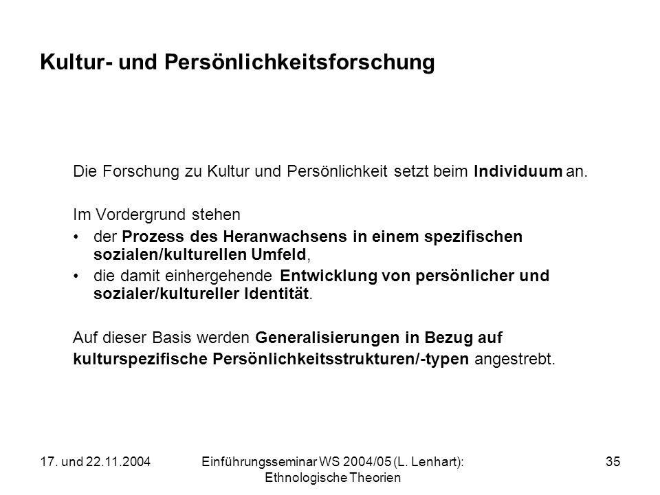 17. und 22.11.2004Einführungsseminar WS 2004/05 (L. Lenhart): Ethnologische Theorien 35 Kultur- und Persönlichkeitsforschung Die Forschung zu Kultur u