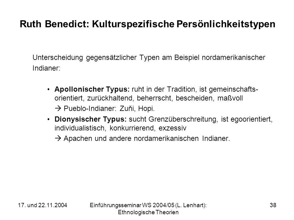17. und 22.11.2004Einführungsseminar WS 2004/05 (L. Lenhart): Ethnologische Theorien 38 Ruth Benedict: Kulturspezifische Persönlichkeitstypen Untersch