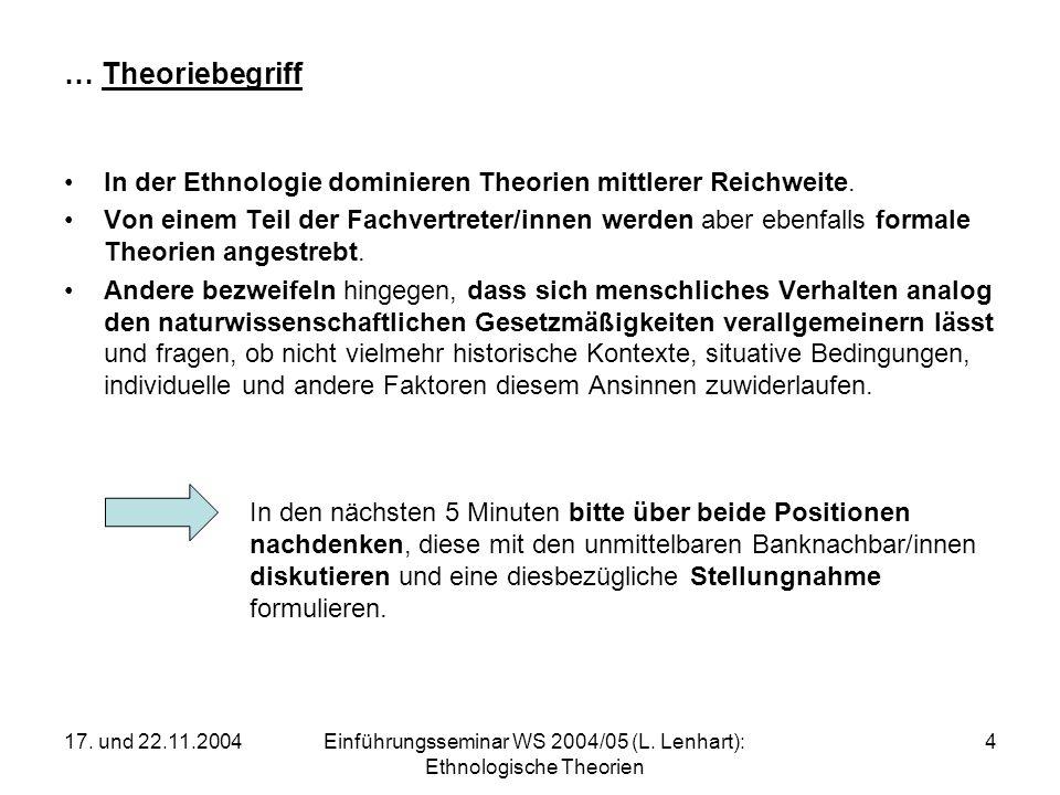 17. und 22.11.2004Einführungsseminar WS 2004/05 (L. Lenhart): Ethnologische Theorien 4 … Theoriebegriff In der Ethnologie dominieren Theorien mittlere
