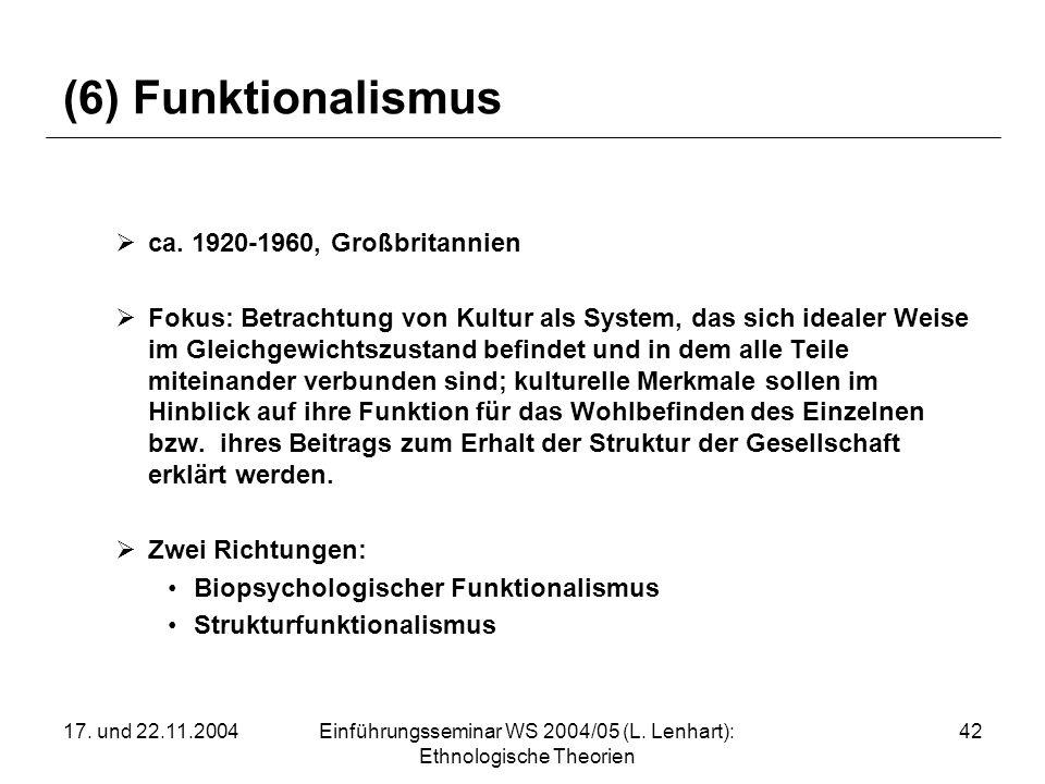 17. und 22.11.2004Einführungsseminar WS 2004/05 (L. Lenhart): Ethnologische Theorien 42 (6) Funktionalismus ca. 1920-1960, Großbritannien Fokus: Betra