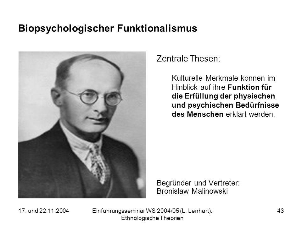 17. und 22.11.2004Einführungsseminar WS 2004/05 (L. Lenhart): Ethnologische Theorien 43 Biopsychologischer Funktionalismus Zentrale Thesen: Kulturelle