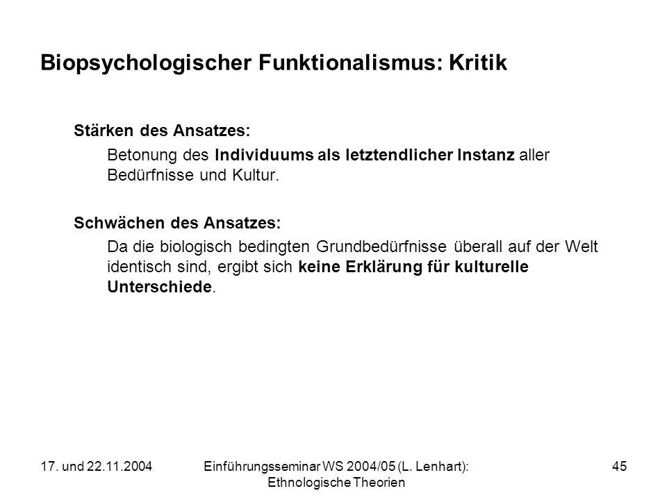 17. und 22.11.2004Einführungsseminar WS 2004/05 (L. Lenhart): Ethnologische Theorien 45 Biopsychologischer Funktionalismus: Kritik Stärken des Ansatze