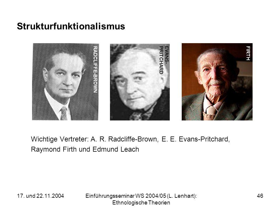 17. und 22.11.2004Einführungsseminar WS 2004/05 (L. Lenhart): Ethnologische Theorien 46 Strukturfunktionalismus Wichtige Vertreter: A. R. Radcliffe-Br