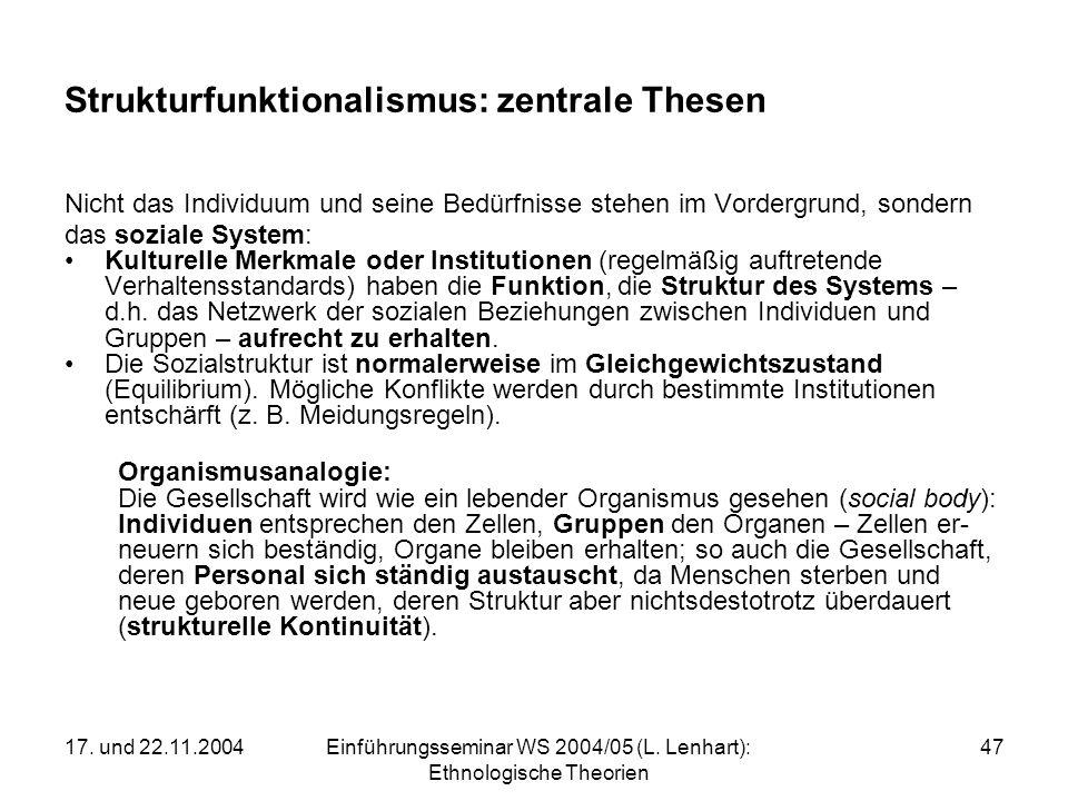17. und 22.11.2004Einführungsseminar WS 2004/05 (L. Lenhart): Ethnologische Theorien 47 Strukturfunktionalismus: zentrale Thesen Nicht das Individuum