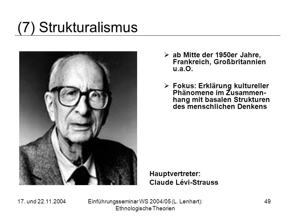 17. und 22.11.2004Einführungsseminar WS 2004/05 (L. Lenhart): Ethnologische Theorien 49 (7) Strukturalismus ab Mitte der 1950er Jahre, Frankreich, Gro